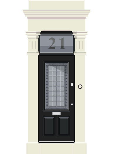 An illustration of a building's front door